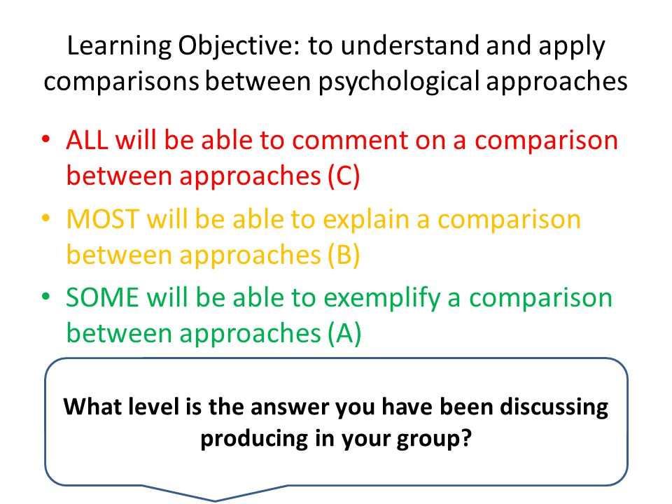 Learning Objective: to understand and apply comparisons between psychological approaches ALL will be able to comment on a comparison between approaches (C) MOST will be able to explain a comparison between approaches (B) SOME will be able to exemplify a comparison between approaches (A) What level is the answer you have been discussing producing in your group?