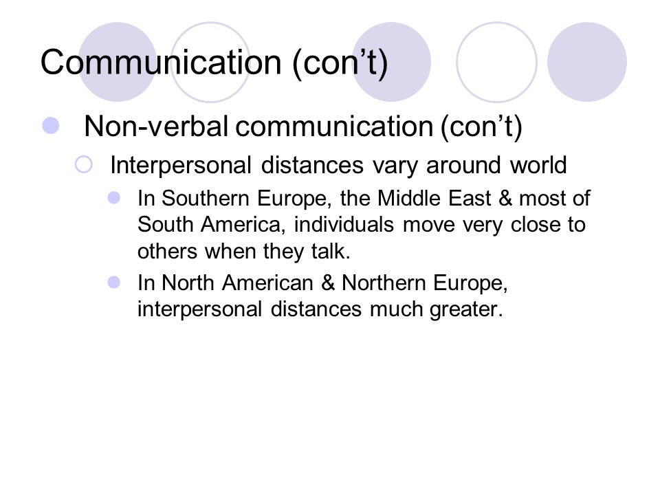 Communication (con't) Non-verbal communication (con't)  Interpersonal distances vary around world In Southern Europe, the Middle East & most of South America, individuals move very close to others when they talk.