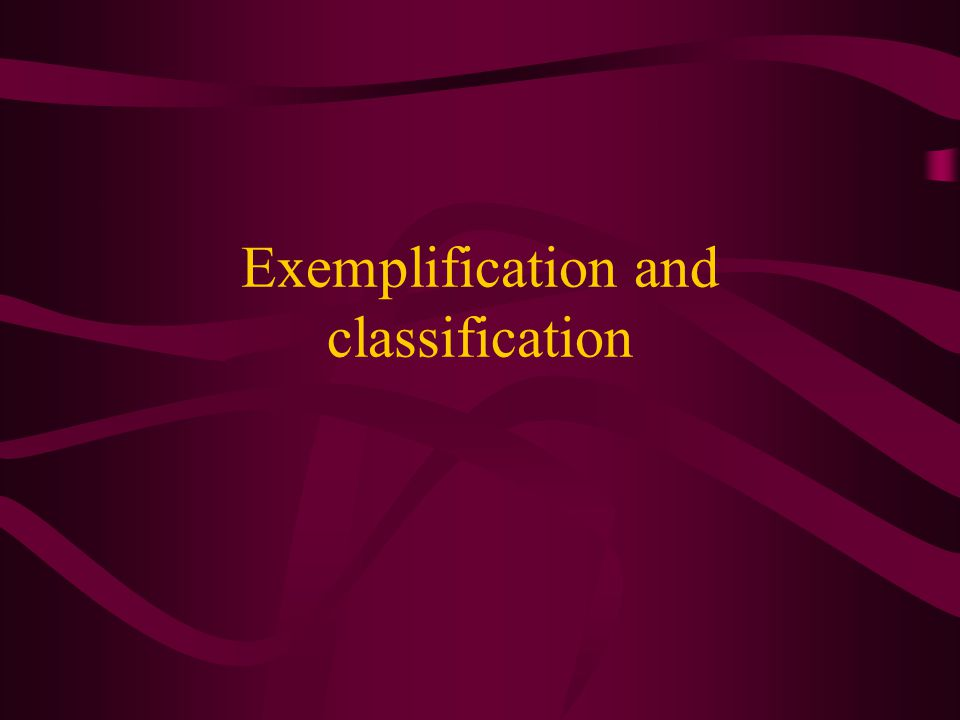 Exemplification and classification