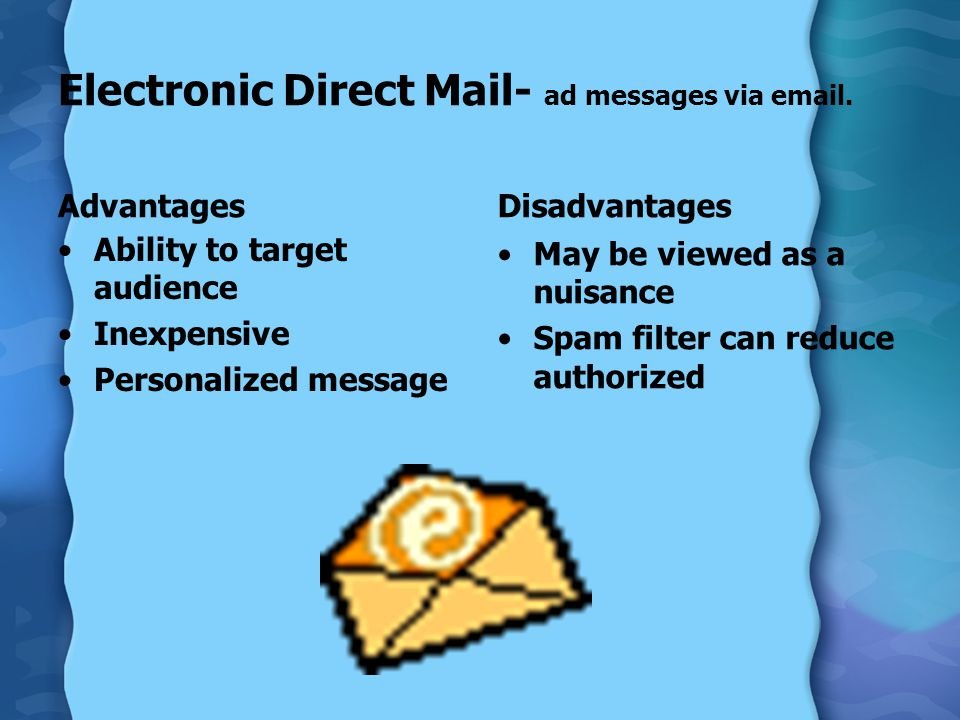 Electronic Direct Mail- ad messages via email.