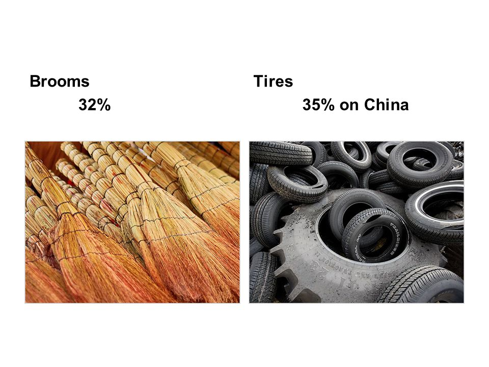 Brooms 32% Tires 35% on China