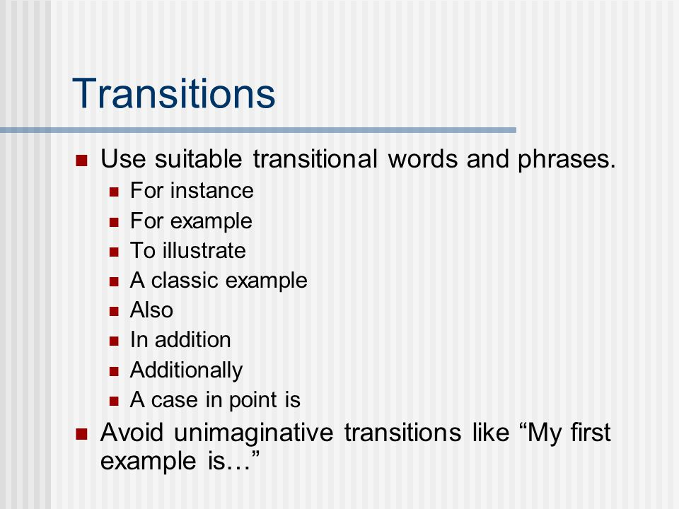 Transition Sentences For Essays
