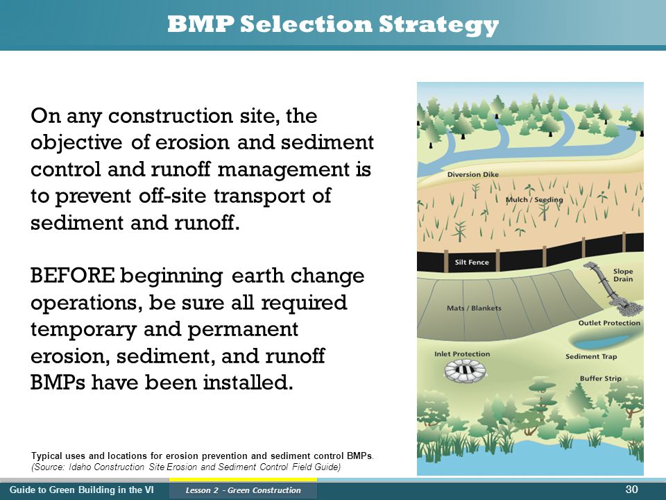 Guide to Green Building in the VI Lesson 2 - Green Construction BMP Selection Strategy 30 On any construction site, the objective of erosion and sediment control and runoff management is to prevent off-site transport of sediment and runoff.