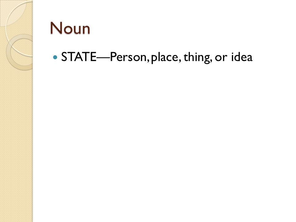 Noun STATE—Person, place, thing, or idea