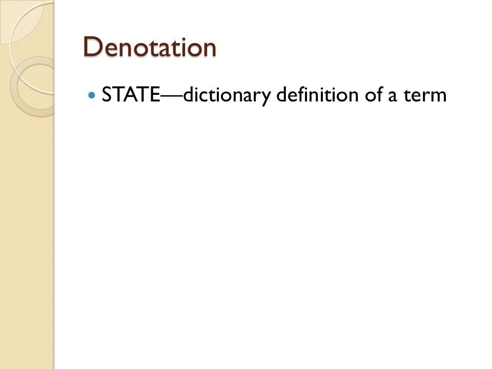 Denotation STATE—dictionary definition of a term