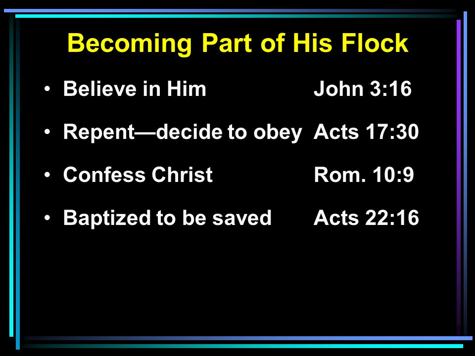 Becoming Part of His Flock Believe in HimJohn 3:16 Repent—decide to obeyActs 17:30 Confess ChristRom.