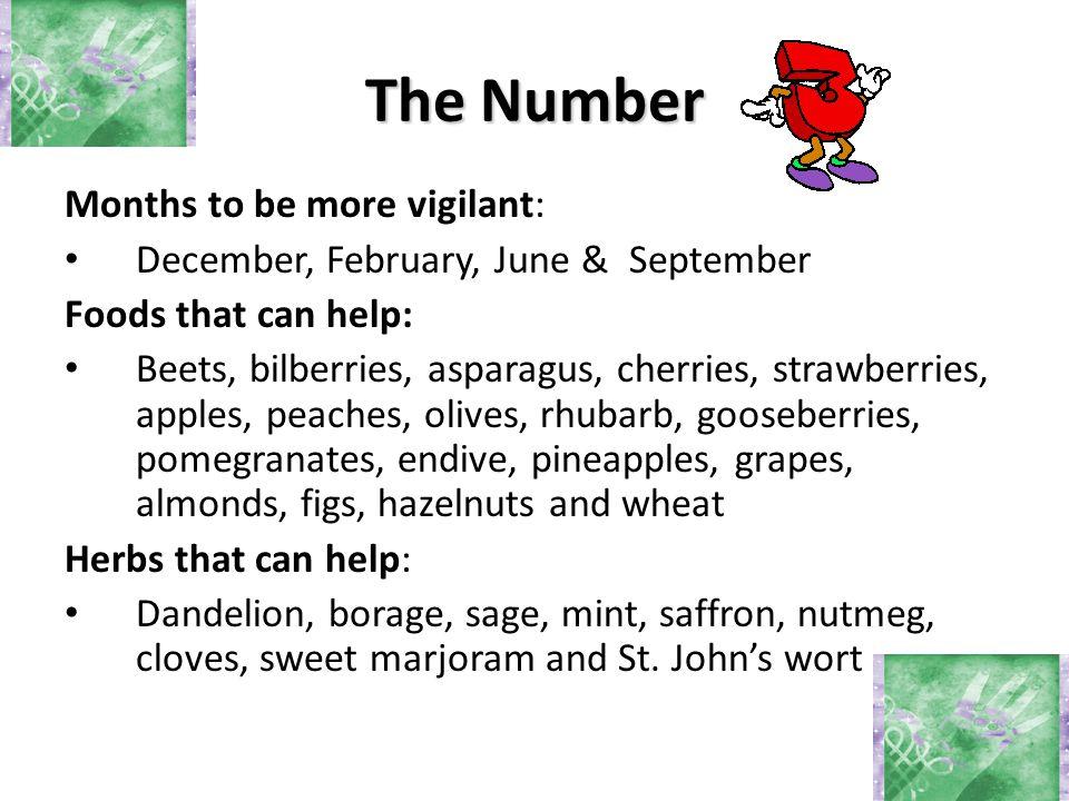 Months to be more vigilant: December, February, June & September Foods that can help: Beets, bilberries, asparagus, cherries, strawberries, apples, pe