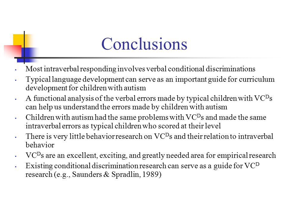 Conclusions Most intraverbal responding involves verbal conditional discriminations Typical language development can serve as an important guide for curriculum development for children with autism A functional analysis of the verbal errors made by typical children with VC D s can help us understand the errors made by children with autism Children with autism had the same problems with VC D s and made the same intraverbal errors as typical children who scored at their level There is very little behavior research on VC D s and their relation to intraverbal behavior VC D s are an excellent, exciting, and greatly needed area for empirical research Existing conditional discrimination research can serve as a guide for VC D research (e.g., Saunders & Spradlin, 1989)