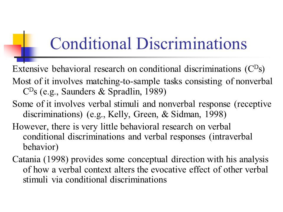 Conditional Discriminations Extensive behavioral research on conditional discriminations (C D s) Most of it involves matching-to-sample tasks consisting of nonverbal C D s (e.g., Saunders & Spradlin, 1989) Some of it involves verbal stimuli and nonverbal response (receptive discriminations) (e.g., Kelly, Green, & Sidman, 1998) However, there is very little behavioral research on verbal conditional discriminations and verbal responses (intraverbal behavior) Catania (1998) provides some conceptual direction with his analysis of how a verbal context alters the evocative effect of other verbal stimuli via conditional discriminations