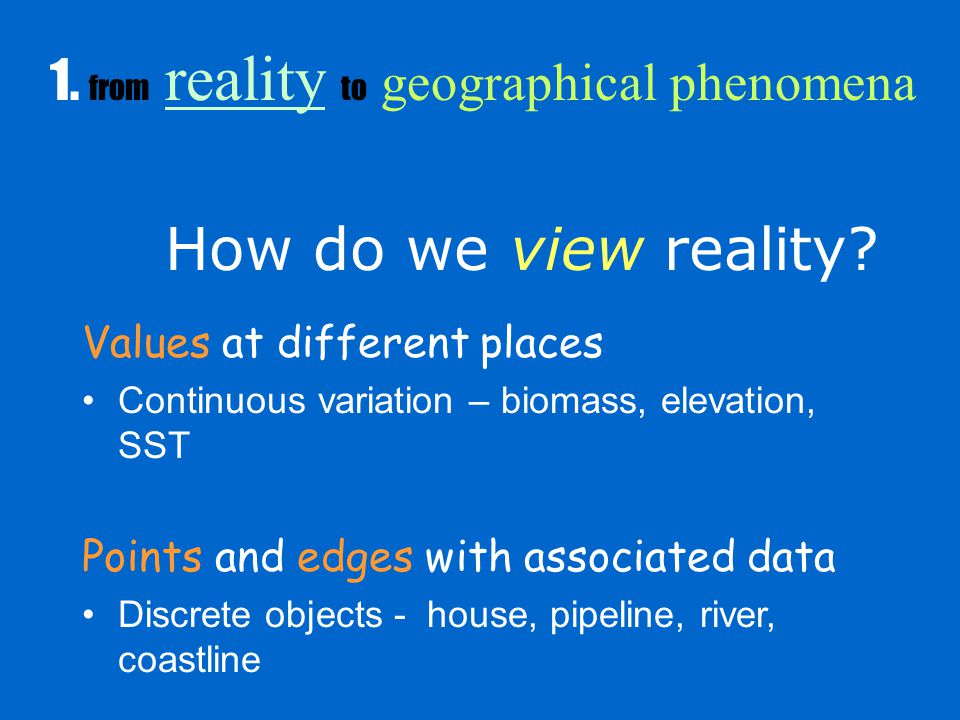 How do we view reality. 1.
