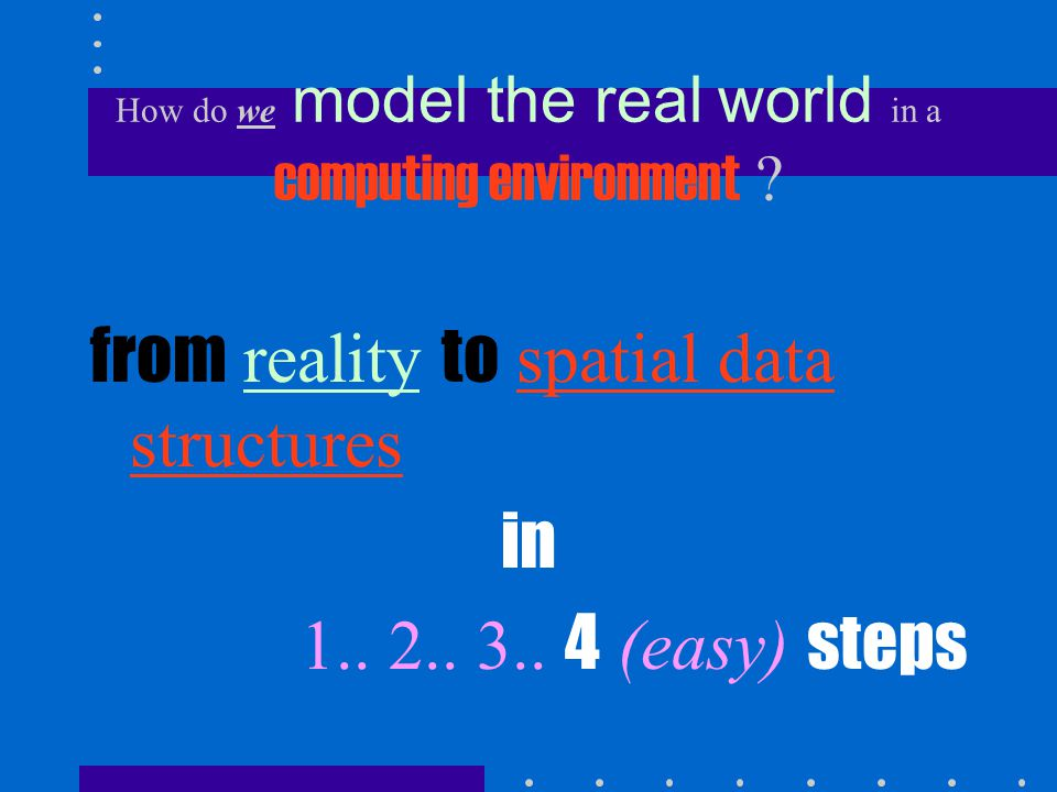 1.from reality to geographical phenomena 2. from geographical phenomena to spatial entities 3.
