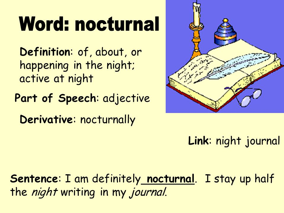 Definition: of, about, or happening in the night; active at night Derivative: nocturnally Sentence: I am definitely nocturnal. I stay up half the nigh