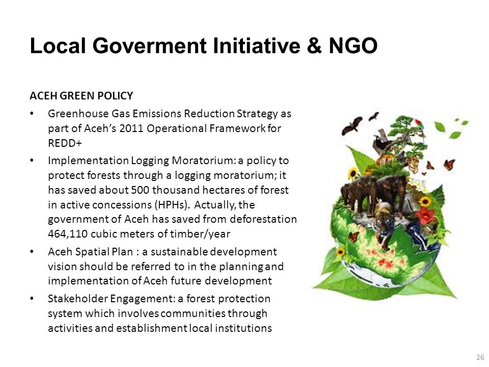 Local Goverment Initiative & NGO ACEH GREEN POLICY Greenhouse Gas Emissions Reduction Strategy as part of Aceh's 2011 Operational Framework for REDD+ Implementation Logging Moratorium: a policy to protect forests through a logging moratorium; it has saved about 500 thousand hectares of forest in active concessions (HPHs).