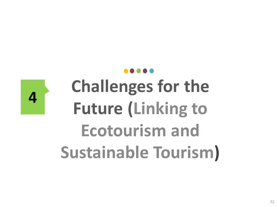 Challenges for the Future (Linking to Ecotourism and Sustainable Tourism) 32 4