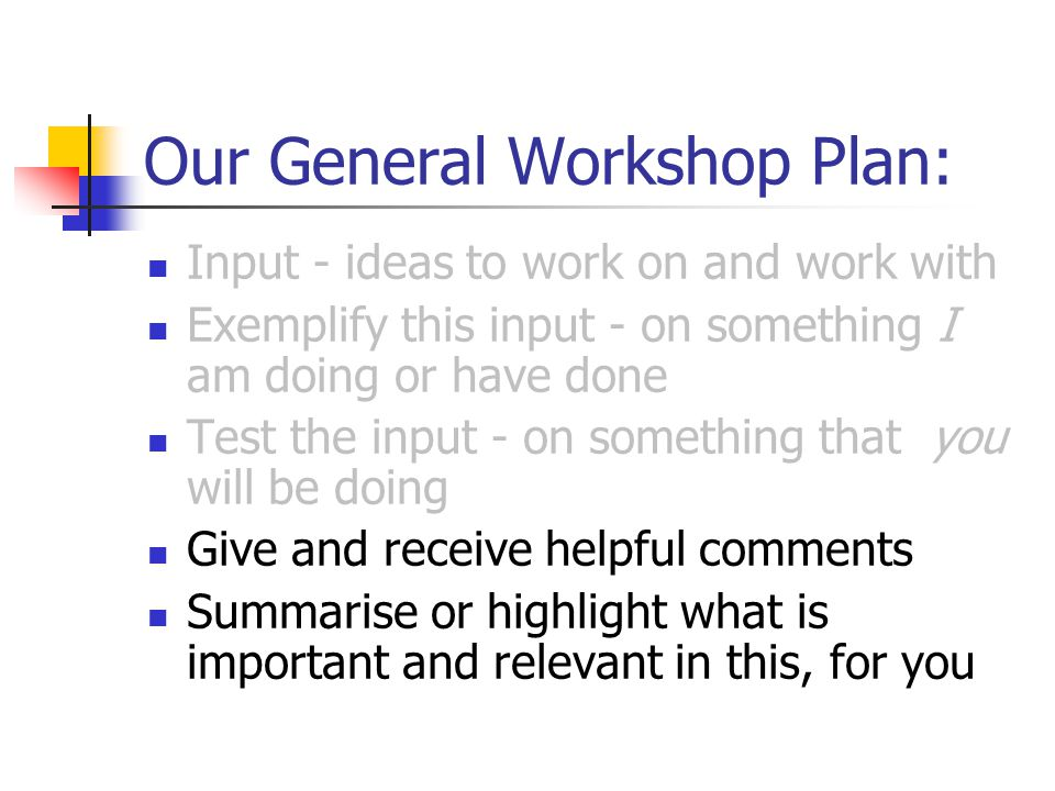 Our General Workshop Plan: Input - ideas to work on and work with Exemplify this input - on something I am doing or have done Test the input - on something that you will be doing Give and receive helpful comments Summarise or highlight what is important and relevant in this, for you