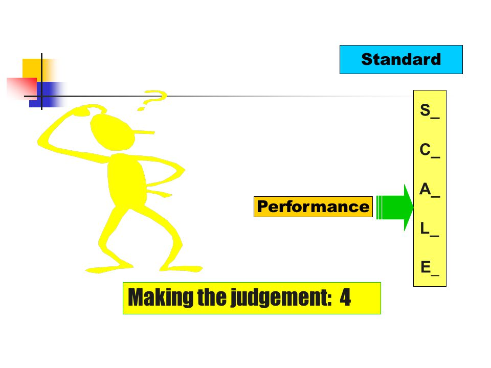 Standard Performance Making the judgement: 4 S_ C_ A_ L_ E _