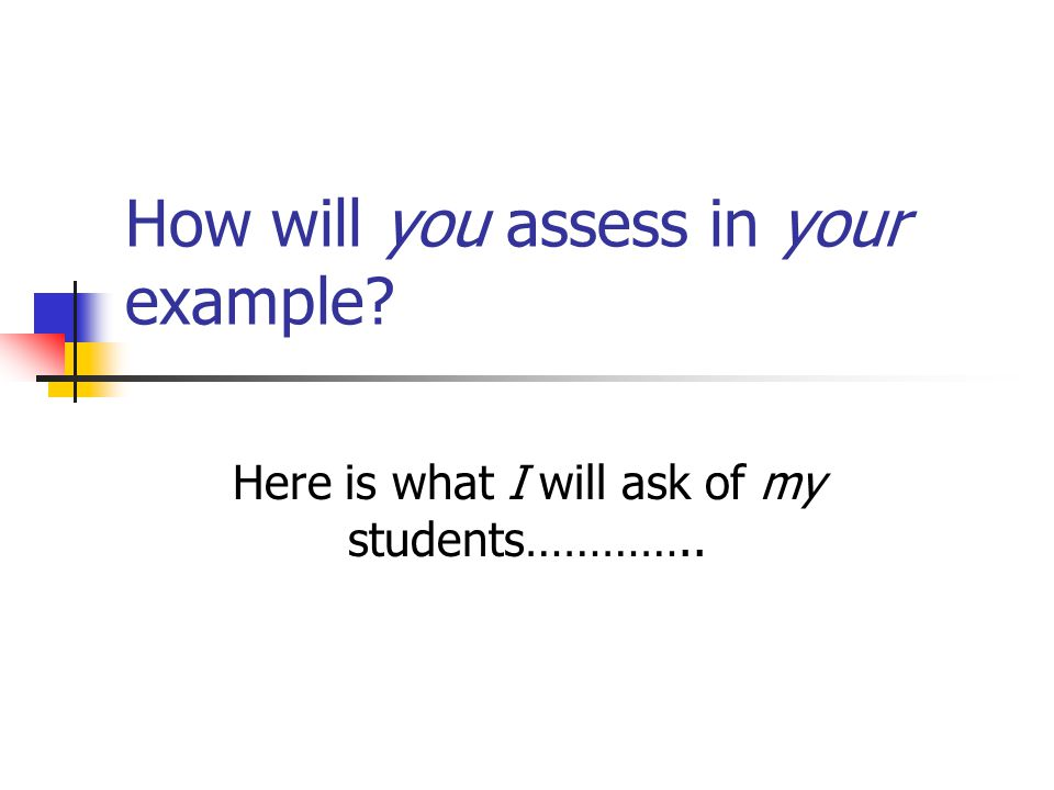 How will you assess in your example Here is what I will ask of my students…………..
