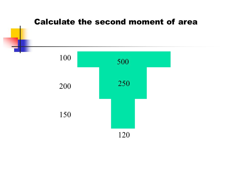 Calculate the second moment of area 100 200 150 120 500 250