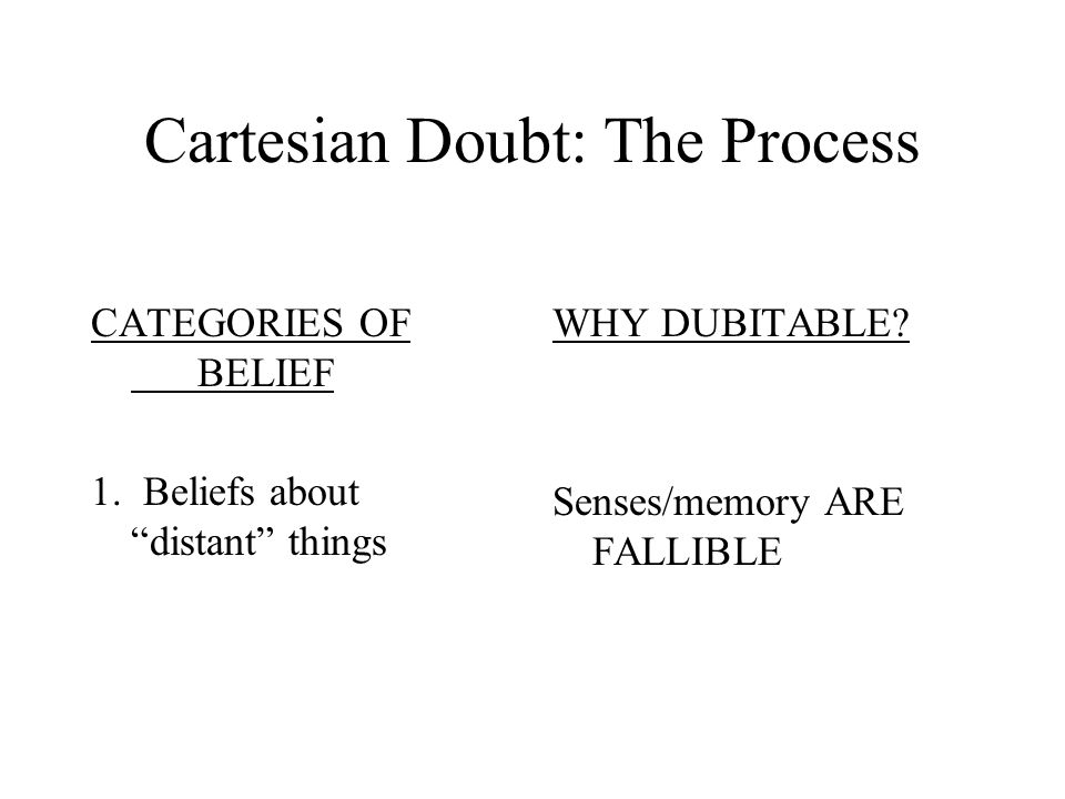 Method: CARTESIAN DOUBT Descartes' search for KNOWLEDGE involves a kind of process of elimination. He examines the kinds of BELIEFS he might claim to know and considers whether it is possible for him to DOUBT those beliefs.
