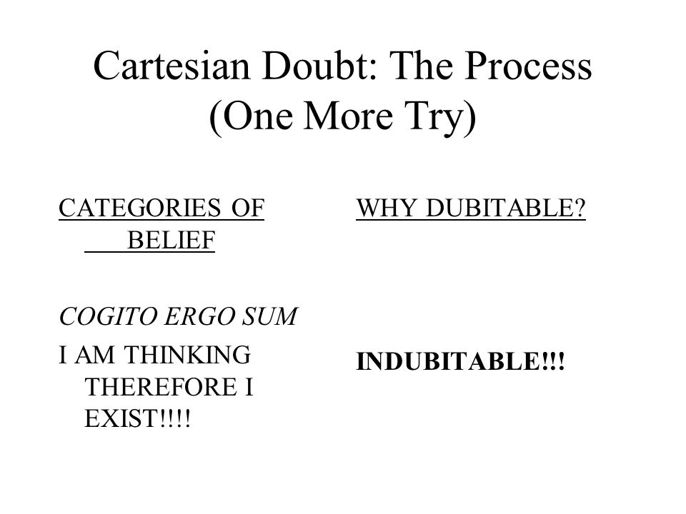 Cartesian Doubt: The Process (cont.) CATEGORIES OF BELIEF 3.