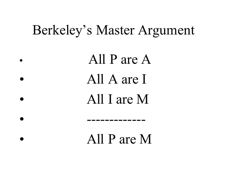 Components of Berkeley's Argument P:everyday, common sense (physical) objects (and states of mind) A:things that I am directly aware of by means of my senses (& reflection) I:ideas M:things that DO NOT exist independent of MIND (i.e., things that are mind dependent)