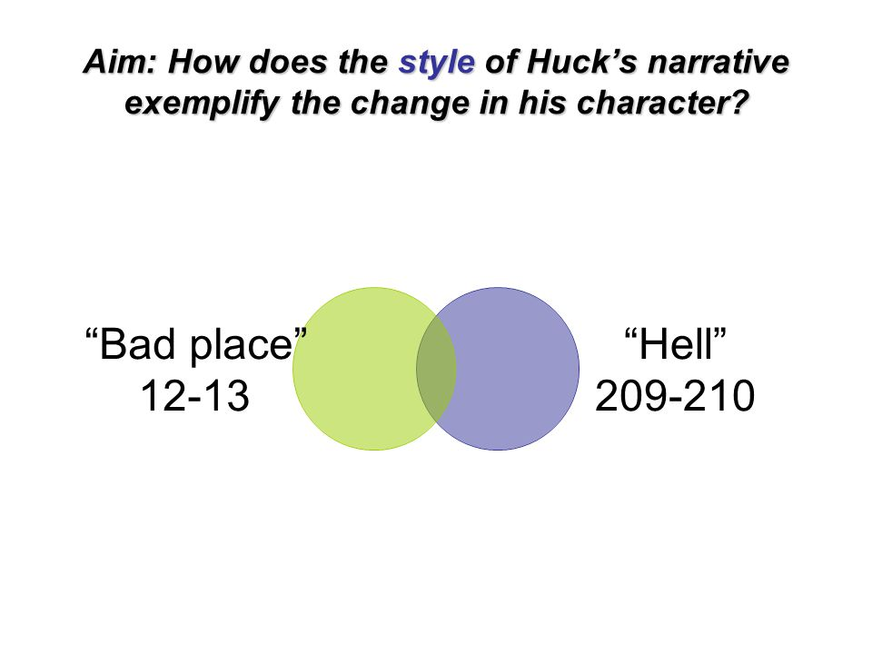 """Aim: How does the style of Huck's narrative exemplify the change in his character? """"Bad place"""" 12-13 """"Hell"""" 209- 210"""