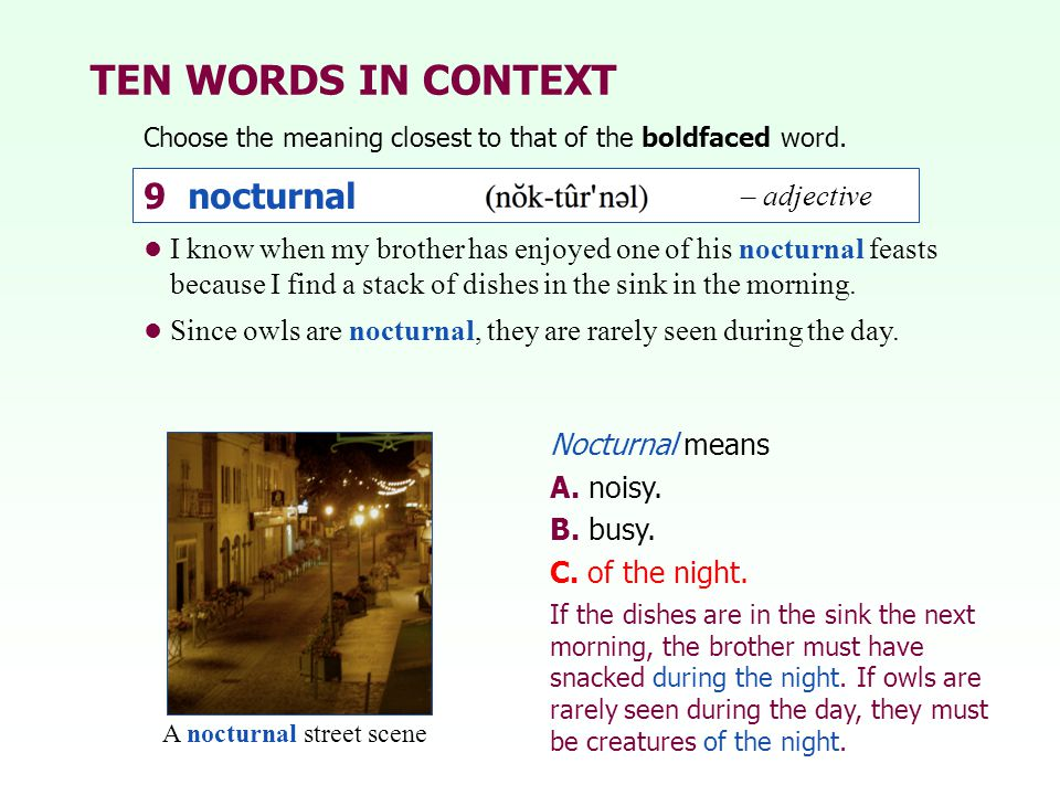 TEN WORDS IN CONTEXT Choose the meaning closest to that of the boldfaced word. Nocturnal means A. noisy. B. busy. C. of the night. I know when my brot