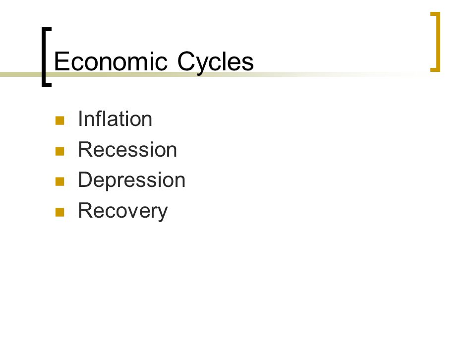 Economic Cycles Inflation Recession Depression Recovery