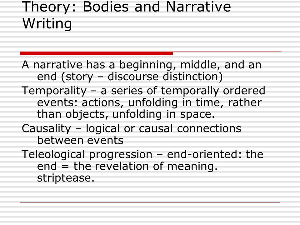 Theory: Bodies and Narrative Writing  A narrative involves someone telling someone else that something happened  Narrative power and authority  Teller – listener, narrator – narratee, author – reader.