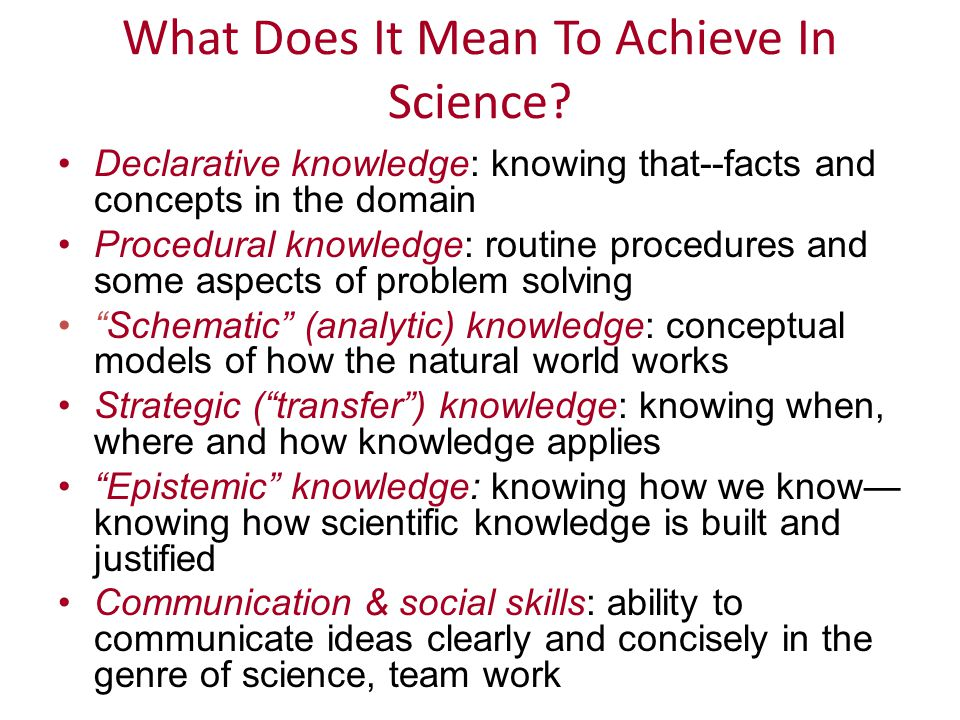 Declarative knowledge: knowing that--facts and concepts in the domain Procedural knowledge: routine procedures and some aspects of problem solving Schematic (analytic) knowledge: conceptual models of how the natural world works Strategic ( transfer ) knowledge: knowing when, where and how knowledge applies Epistemic knowledge: knowing how we know— knowing how scientific knowledge is built and justified Communication & social skills: ability to communicate ideas clearly and concisely in the genre of science, team work What Does It Mean To Achieve In Science