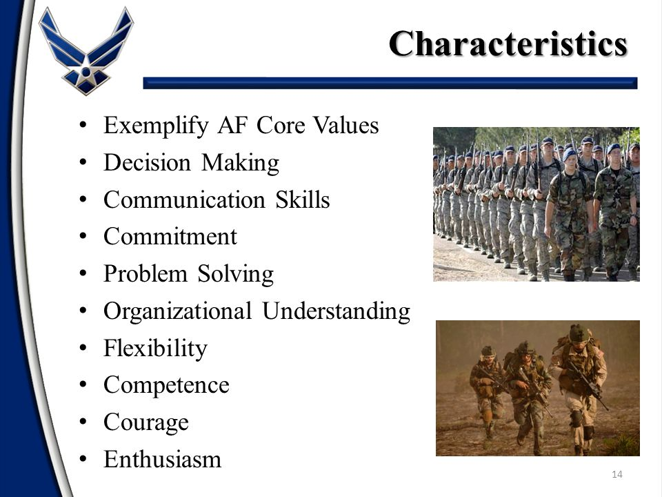 Exemplify AF Core Values Decision Making Communication Skills Commitment Problem Solving Organizational Understanding Flexibility Competence Courage Enthusiasm 14 Characteristics
