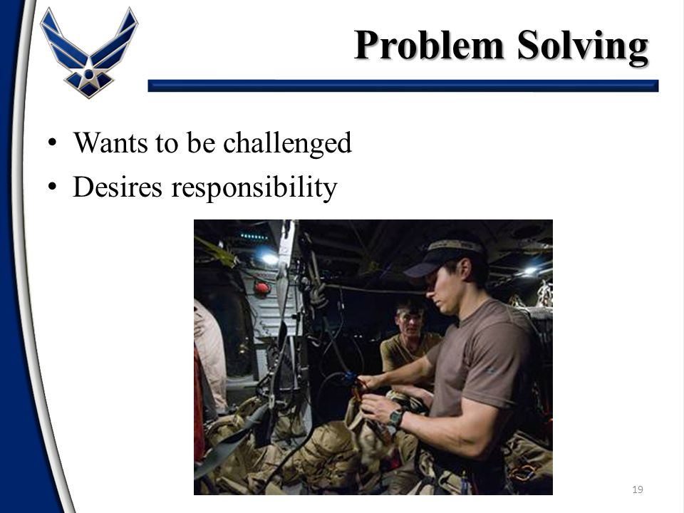 Wants to be challenged Desires responsibility Problem Solving 19