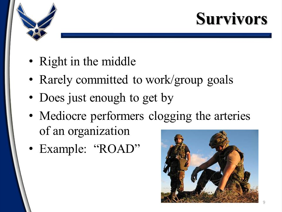 9 Right in the middle Rarely committed to work/group goals Does just enough to get by Mediocre performers clogging the arteries of an organization Example: ROAD Survivors