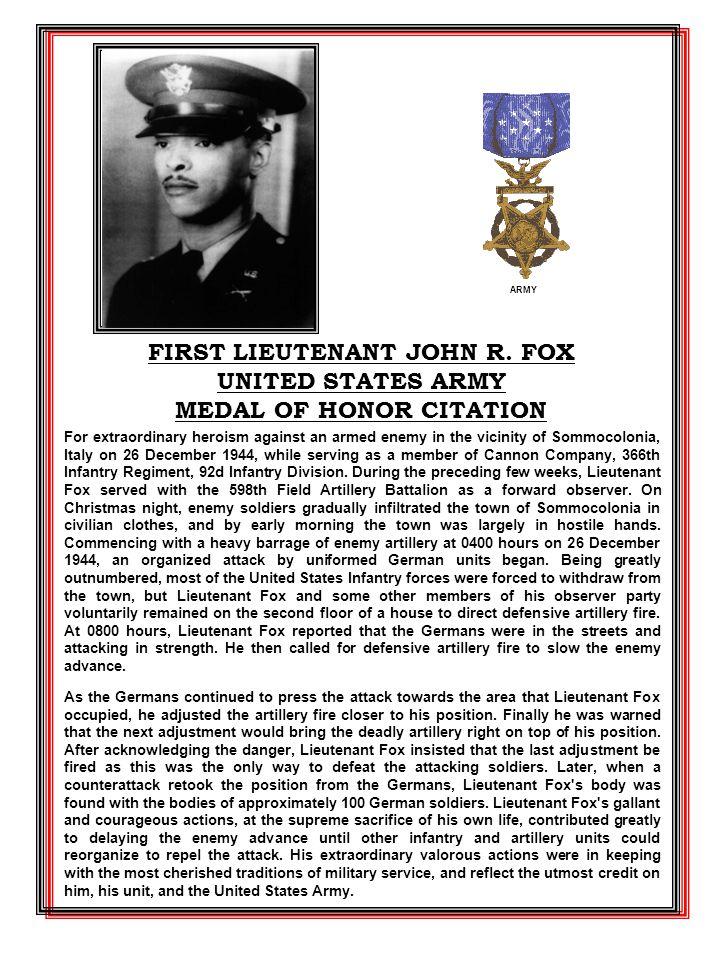 FIRST LIEUTENANT JOHN R.