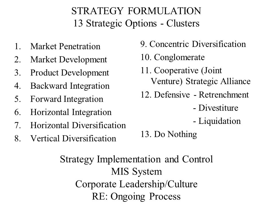 STRATEGY FORMULATION 13 Strategic Options - Clusters Strategy Implementation and Control MIS System Corporate Leadership/Culture RE: Ongoing Process 1