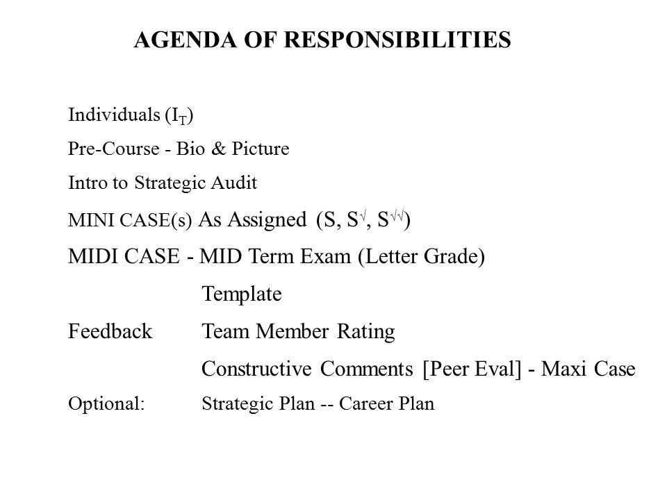 Individuals (I T ) Pre-Course - Bio & Picture Intro to Strategic Audit MINI CASE(s) As Assigned (S, S √, S √√ ) MIDI CASE - MID Term Exam (Letter Grad
