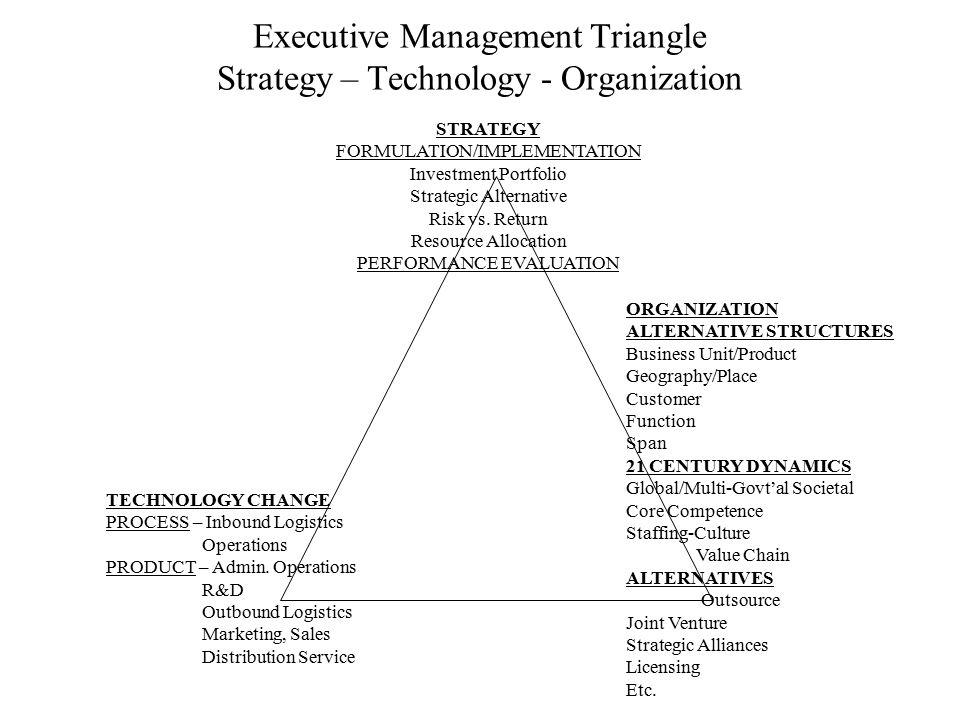 Executive Management Triangle Strategy – Technology - Organization STRATEGY FORMULATION/IMPLEMENTATION Investment Portfolio Strategic Alternative Risk