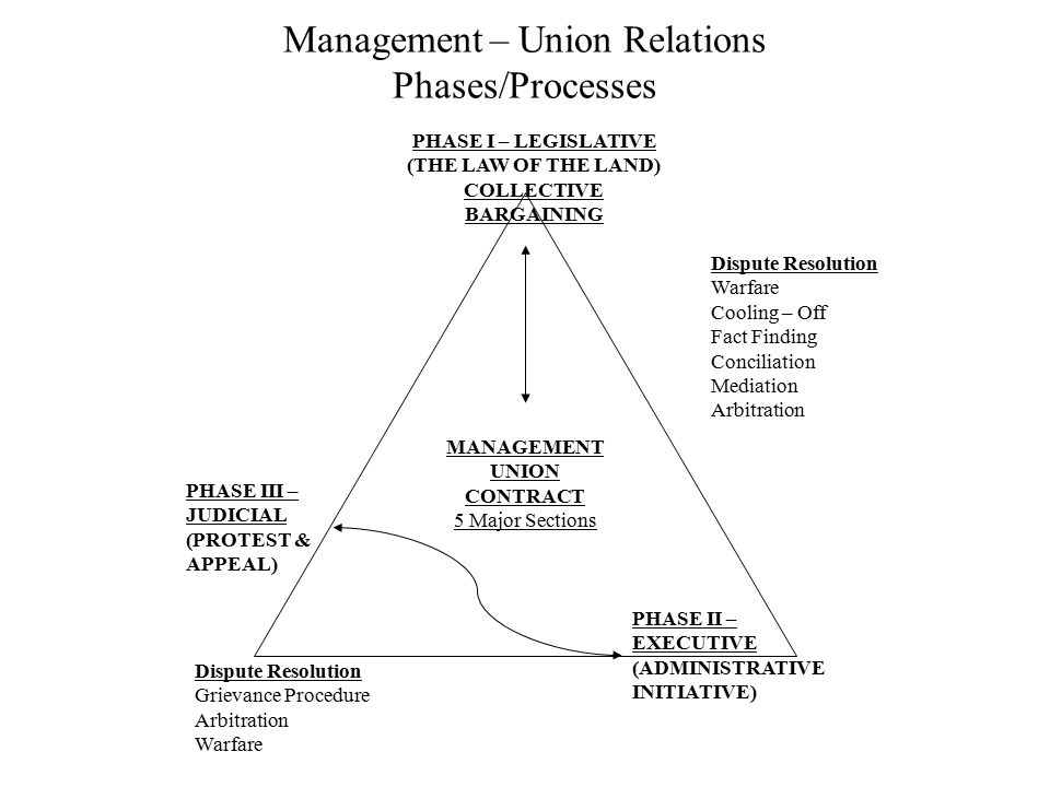 Management – Union Relations Phases/Processes PHASE I – LEGISLATIVE (THE LAW OF THE LAND) COLLECTIVE BARGAINING PHASE III – JUDICIAL (PROTEST & APPEAL