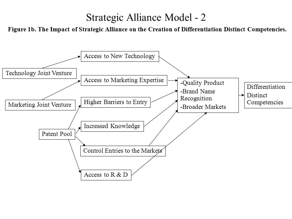 Strategic Alliance Model - 2 Technology Joint Venture Marketing Joint Venture Patent Pool Access to New Technology Access to Marketing Expertise Highe