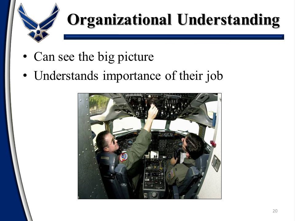 20 Can see the big picture Understands importance of their job Organizational Understanding