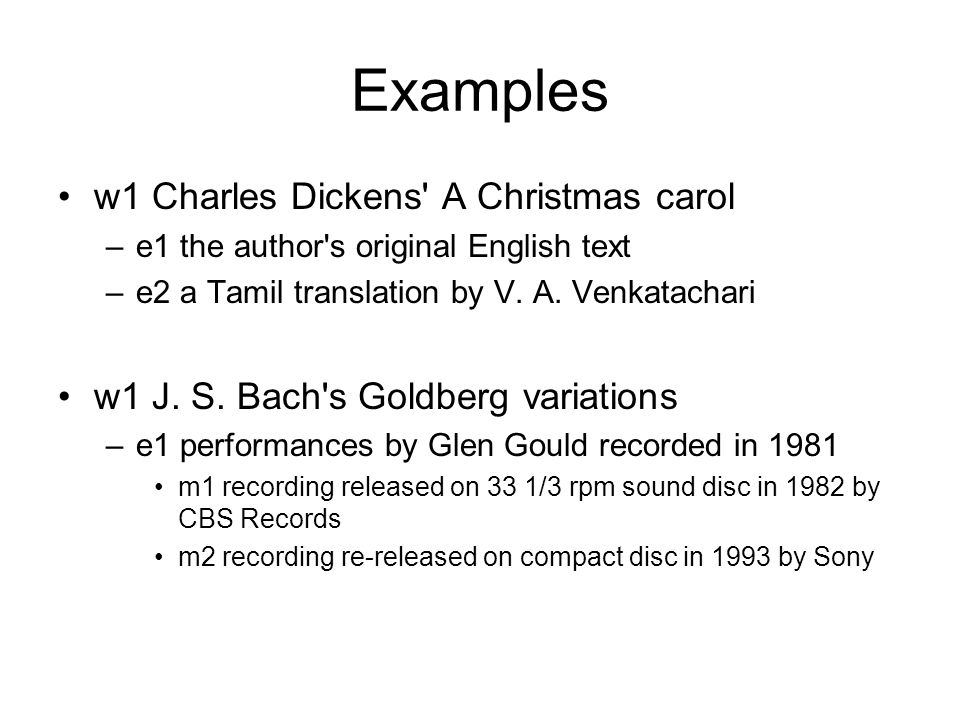 Examples w1 Charles Dickens A Christmas carol –e1 the author s original English text –e2 a Tamil translation by V.