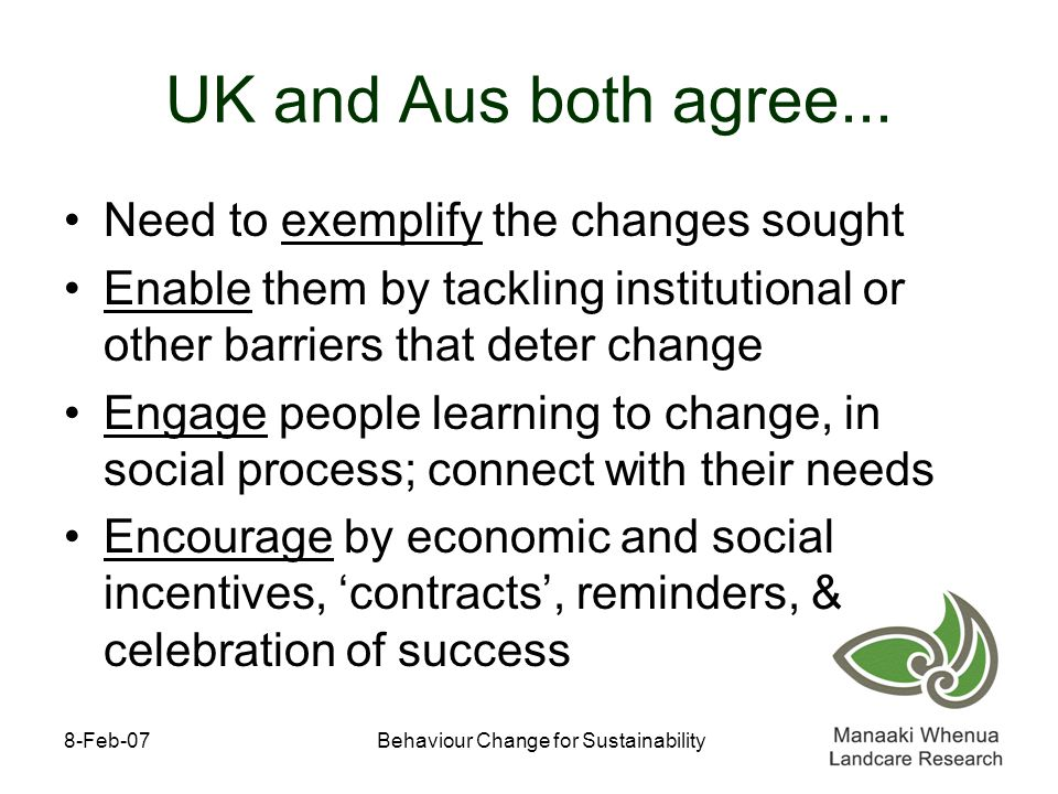 8-Feb-07Behaviour Change for Sustainability UK and Aus both agree...
