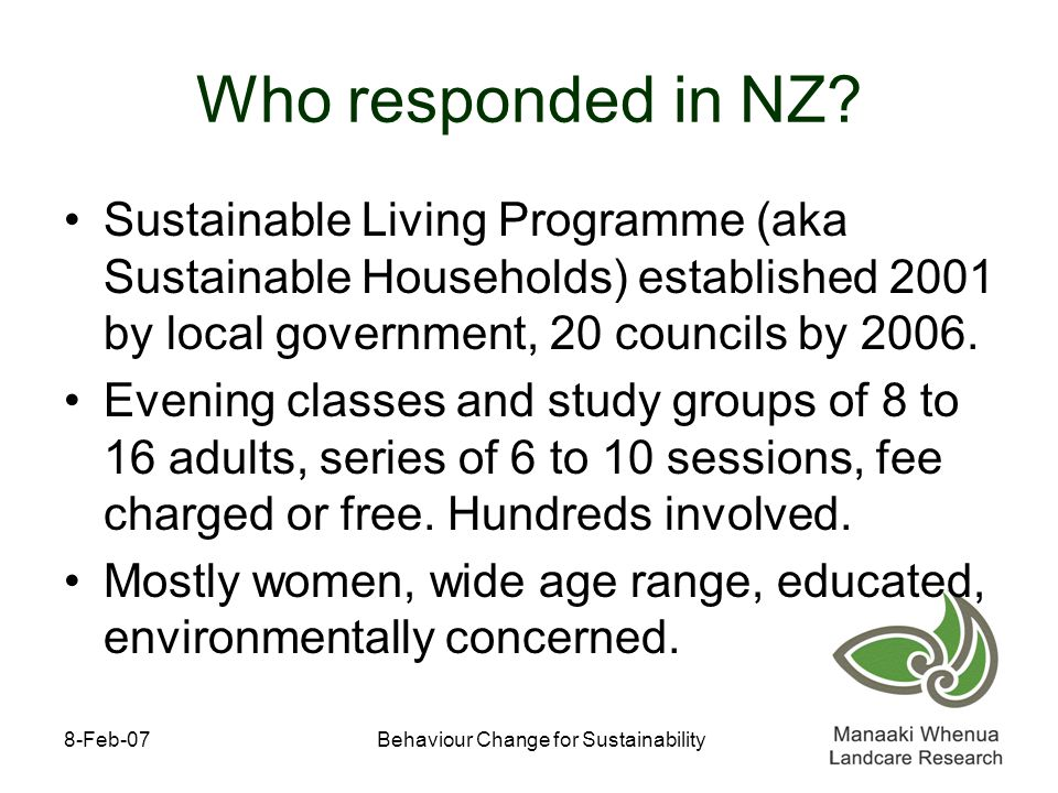 8-Feb-07Behaviour Change for Sustainability Who responded in NZ.