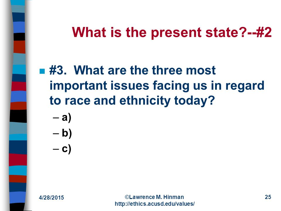 4/28/2015 ©Lawrence M. Hinman http://ethics.acusd.edu/values/ 24 What is the present state.