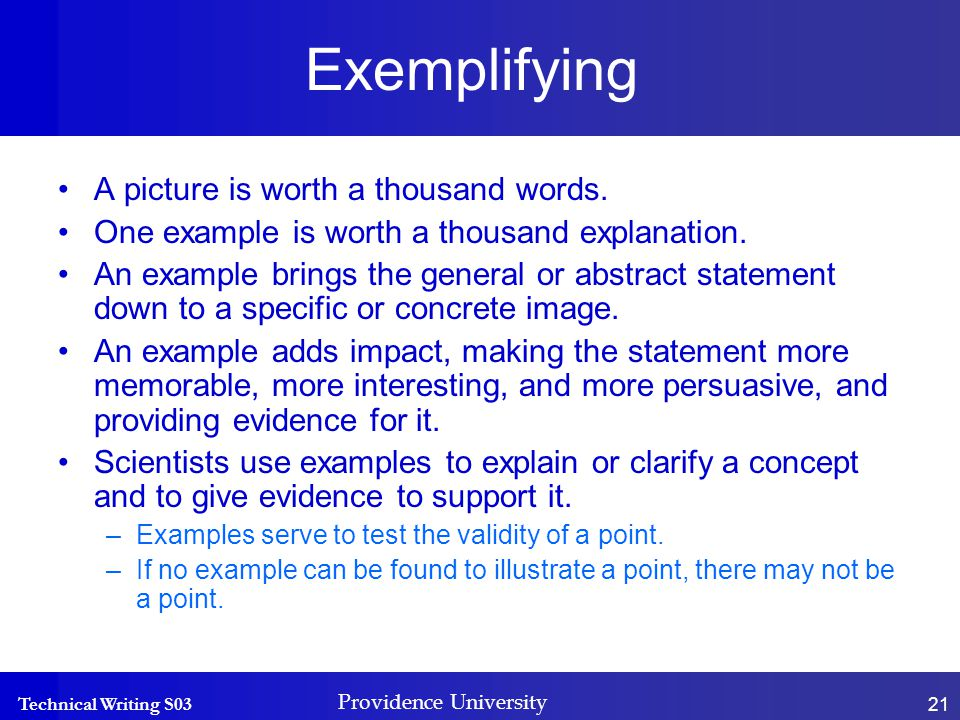 Technical Writing S03 Providence University 21 Exemplifying A picture is worth a thousand words.