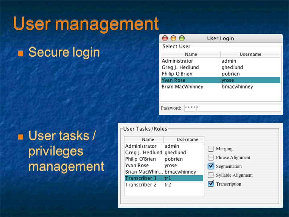 User management Secure login User tasks / privileges management Secure login User tasks / privileges management