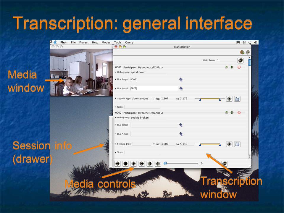 Transcription: general interface Transcription window Transcription window Session info (drawer) Session info (drawer) Media controls Media window Media window