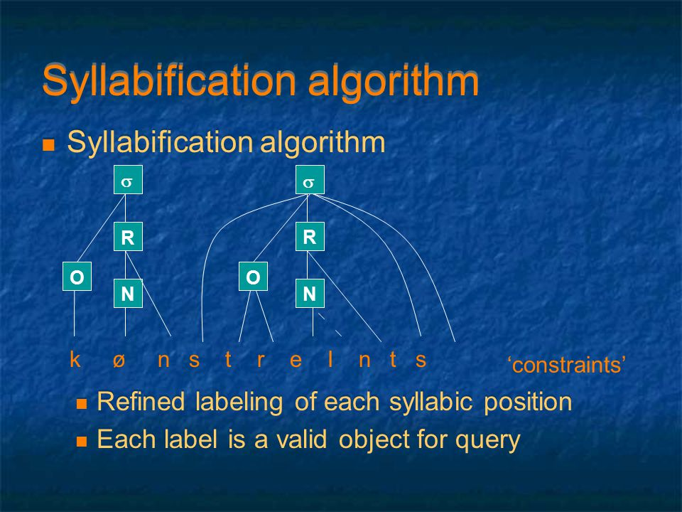 Syllabification algorithm Refined labeling of each syllabic position Each label is a valid object for query Syllabification algorithm Refined labeling