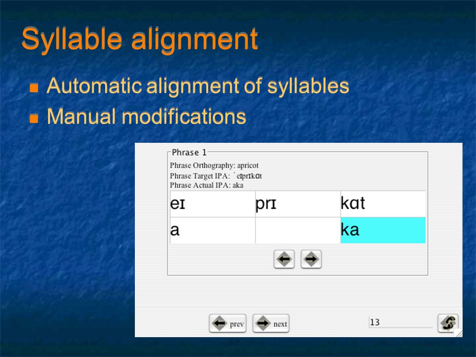 Syllable alignment Automatic alignment of syllables Manual modifications Automatic alignment of syllables Manual modifications