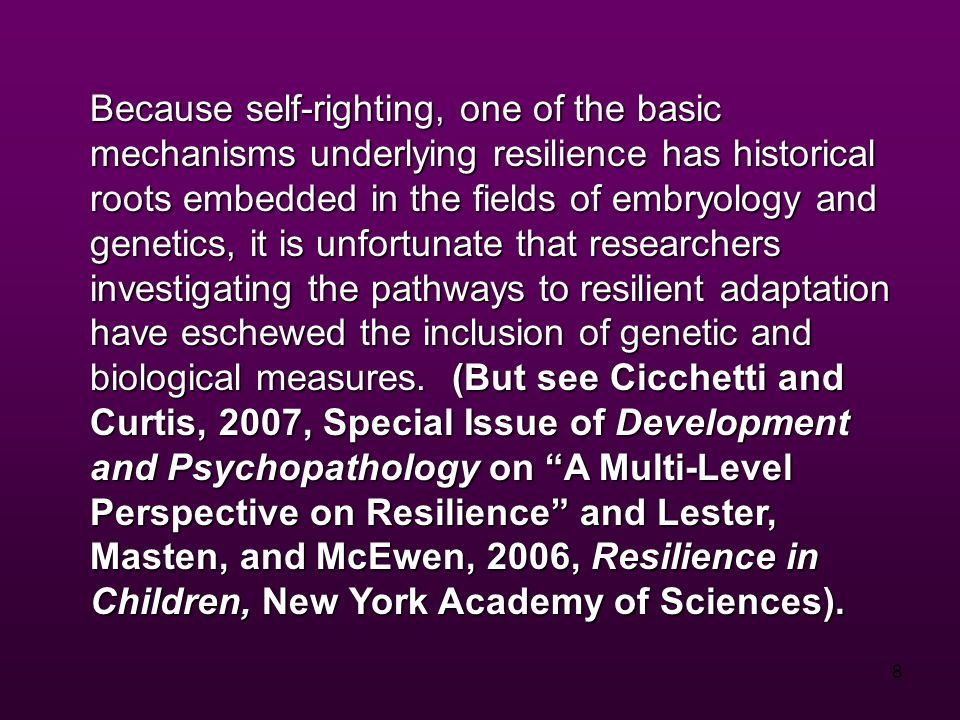 9 The role of biological factors in resilience is suggested by evidence on neural and neuroendocrine system function in relation to stress reactivity, and in behavior-genetic research on nonshared environment effects.